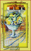 Mindy Newman Digital Art Posters - Lemons Ala Cart Poster by Mindy Newman