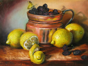 Martin Katon Metal Prints - Lemons and Berries Metal Print by Martin Katon