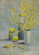 Lemons Framed Prints - Lemons and Forsythia Framed Print by Sandy Clift