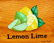 Whites Drawings Posters - Lemons and Limes Poster by Julie Kraft