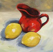 Lemons Framed Prints - Lemons and Red Creamer Framed Print by Torrie Smiley