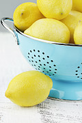 Lemons Photo Framed Prints - Lemons in Blue Framed Print by Stephanie Frey