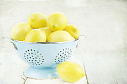 Colander Framed Prints - Lemons in Retro Framed Print by Stephanie Frey