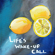 Fruit Still Life Mixed Media Posters - Lemons Poster by Linda Woods
