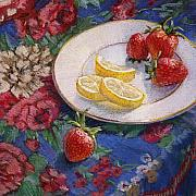 Fabric Pastels Prints - Lemons n Berries Print by L Diane Johnson