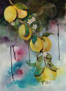Lemons Originals - Lemons On Blue by Renee Chastant