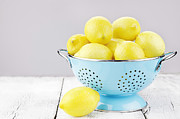Colander Framed Prints - Lemons Framed Print by Stephanie Frey