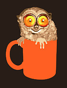 Head Shot Digital Art Prints - Lemur In Coffee Mug Print by New Vision Technologies Inc