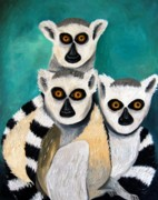 Trio Prints - Lemurs Print by Leah Saulnier The Painting Maniac