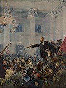 Russian Civil War Prints - Lenin 1870-1924 Declaring Power Print by Everett
