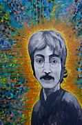 Illustrative Mixed Media Prints - Lennon Print by James Flynn