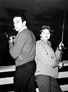 1950s Fashion Prints - Lenny Bruce, With His Wife Honey Print by Everett