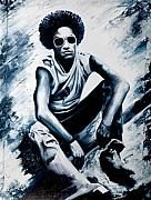 Singer Painting Framed Prints - Lenny Kravitz Framed Print by Jocelyn Passeron