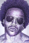 Guitar Drawings - Lenny Kravitz by Maria Arango