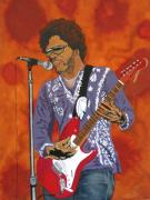 Peoria Artists Paintings - Lenny Kravitz-The Rebirth of Rock by Bill Manson