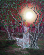 Paranormal Paintings - Lenore by an Olive Tree by Laura Iverson