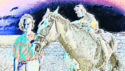 Expressionist Equine Prints - Lenore-Dawn and Revernd Print by Lenore Senior