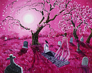 Cherry Blossoms Painting Originals - Lenore in the Breaking Dawn by Laura Iverson