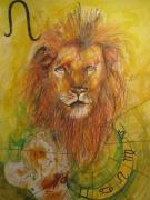 Astrology Drawings Posters - Leo Poster by Brigitte Hintner