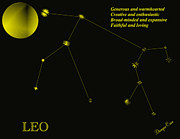 Constellations Posters - Leo Poster by Dwayne Cain