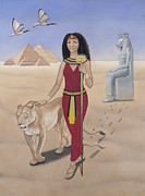 Goddess Mythology Painting Metal Prints - Leo-Sekhmet Metal Print by Karen MacKenzie