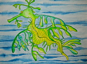 Leafy Sea Dragon Posters - Leon the Leafy Dragonfish Poster by Erika Swartzkopf