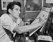 1950s Music Prints - Leonard Bernstein 1918-1990, Seated Print by Everett