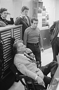 Folk Singer Posters - Leonard Bernstein At A Recording Poster by Everett