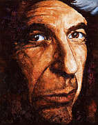 Musician Portrait Painting Originals - Leonard Cohen by Igor Postash