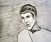 Spock Drawings Framed Prints - Leonard Nimoy as Spock on Star Trek Framed Print by Donald William