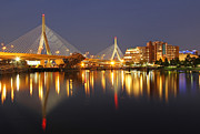 Boston Light Posters - Leonard P. Zakim Bunker Hill Memorial Bridge Poster by Juergen Roth
