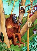 Orang-utan Framed Prints - Leonardo the Orangutan Framed Print by Robert Lacy