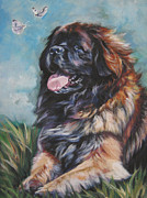 Puppy Print Framed Prints - Leonberger Art Print Framed Print by Lee Ann Shepard