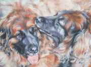 Leonberger Prints - Leonberger Pair Print by Lee Ann Shepard