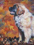 Leonberger Prints - Leonberger puppy in Autumn Print by Lee Ann Shepard