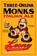 Drunk Drawings Prints - Leone Three Drunk Monks Print by John OBrien