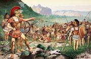 Sparta Prints - Leonidas Bids Farewell To Allies Print by H.M. Herget
