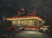 City At Night Paintings - Leons Frozen Custard by Tom Shropshire