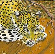 Cats Ceramics - Leopard at Rest by Dy Witt