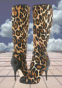Stilettos Paintings - Leopard Boots with Ankle Straps by Elaine Plesser