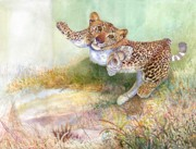 Sri Lankan Artist Paintings - Leopard Cub by Sasitha Weerasinghe