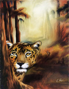 Power Plants Digital Art Posters - Leopard In The Forrest Poster by Ellens Art