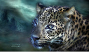 Leopard Mixed Media Posters - Leopard Moon Poster by Carol Cavalaris