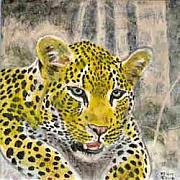 Cat Art Ceramics - Leopard on a Warm Rock by Dy Witt