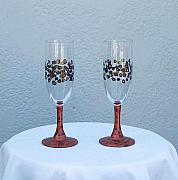 Featured Glass Art - Leopard pattern wine glasses by Lois Niesen