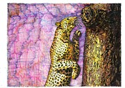 Golden Leopard Framed Prints - Leopard Scampered Framed Print by Richard Stratford