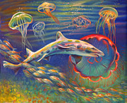 Jelly Fish Paintings - Leopard Shark and Jellyfish by Nancy Tilles