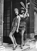 Fashion Model Photography Framed Prints - Leopard Skin Dress Framed Print by Evening Standard