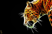 Feline Mixed Media Metal Prints - Leopard Metal Print by The DigArtisT