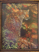 Picture Tapestries - Textiles Originals - Leopard  by Veselina Simeonova